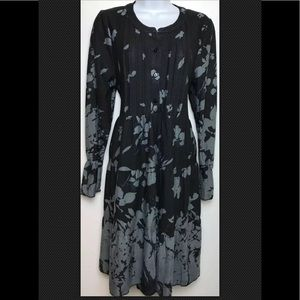 REBORN Sweater Dress Pleated Henley Tiered Boho